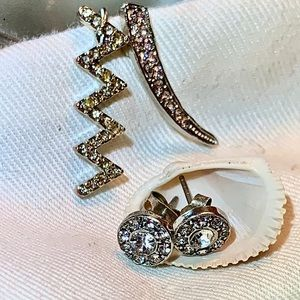 Earring Set: 2 Ear Crawlers, Diamond Stud Earrings